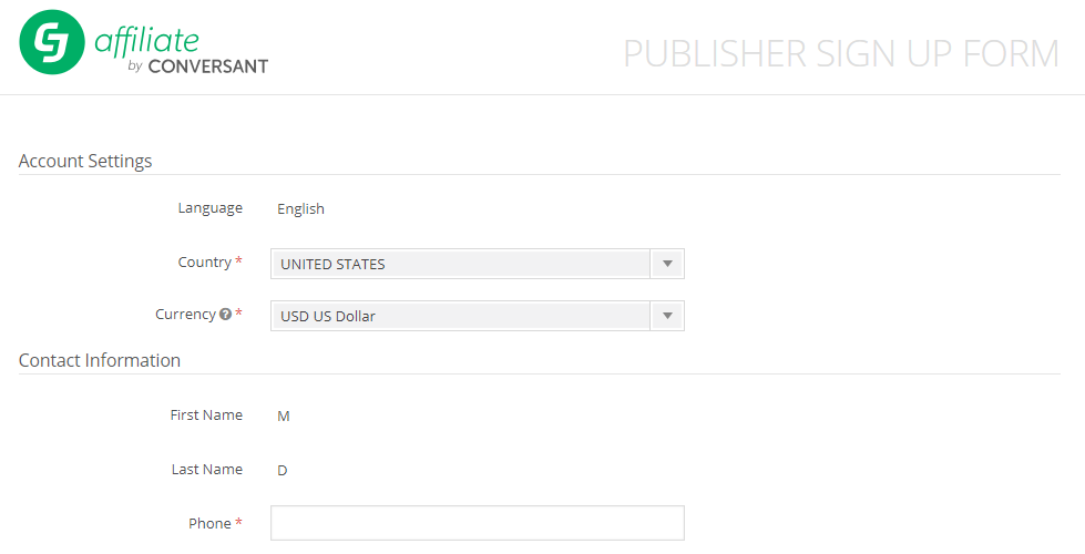 CJ Affiliate- Publisher Sign Up Form